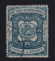 North Borneo Sc #68 (1894) 25c Coat of Arms Used w/CDS VF