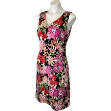 Lilly Pulitzer Silk Sleeveless Dress 8 Floral Sheath V Neck Stretch EUC