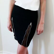 HELLO PARRY Brand Black Double Zip Front Space Mesh Skirt Size M BNWT #SL109