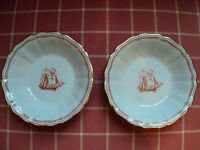 Lot of 2 Spode Trade Winds RED small fluted edge BOWLS dessert nuts ships sail!