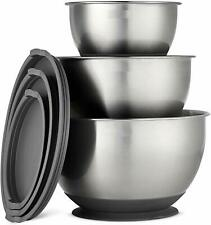 Evokk Stainless Steel Mixing Bowls with Lids 3 Piece Nesting Mixing Bowl Set
