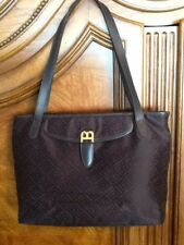 b5617b4c14 BALLY BROWN SIGNATURE MONOGRAM LOGO WITH LEATHER TRIM SHOULDER TOTE HANDBAG