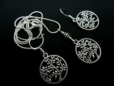 A TIBETAN SILVER  TREE OF LIFE NECKLACE AND 925 HOOK  EARRING SET. NEW.