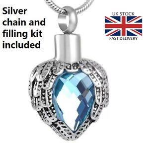 Angel Wings Light Blue Cremation Urn Pendant Ashes Necklace Funeral Memorial UK