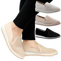Ladies Women Flats Casual Loafers Diamante Office Skater Pumps School Shoes Size