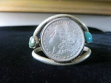 Vintage Navajo Sterling, Turquoise, 1878 Morgan Dollar Coin Silver Cuff Bracelet