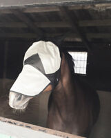 NEW Great Quality FLY MASK HOOD With Nose & ears WHITE FULL/COB/PONY Sale Price