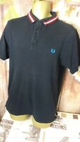 Fred Perry men's collared slim fit size Large black collared polo t-shirt di