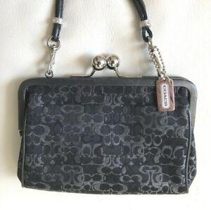 Coach Signature C Black Silver Hardware Kiss Lock Jeweled Clutch Wristlet