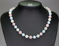 Pastel stone necklace rose quartz, white jade & pale aquamarine, silver spacers