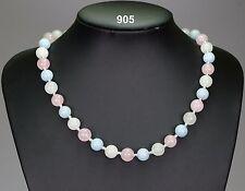 """Pastel stone necklace rose quartz white jade pale aquamarine, silver spacers 18"""""""
