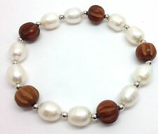 Freshwater Pearl & Wood Bead Bracelet Sterling Silver, Elasticated, UK Seller.