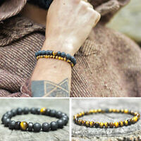 Fashion Lava Prayer Stone Yoga Beads Balance Beaded Bracelets Men Women Jewelry