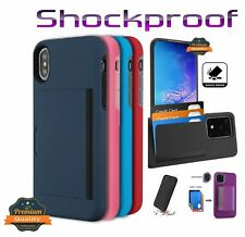 For Samsung Galaxy S20 FE 5G Wallet Case 3 Cards Pouch Rubber TPU Hybrid Cover