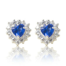Pair rhodium plated heart blue CZ crystal stud earrings halo