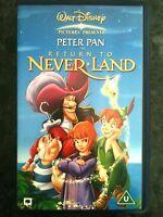 WALT DISNEY ~ PETER PAN ~ RETURN TO NEVERLAND ~ AS NEW VHS VIDEO