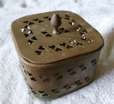 Antique Cricket/Betel/Incense Brass Box with removable lid Made in India.