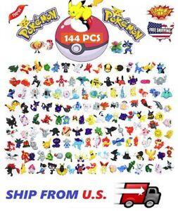 144 Pokemon Toy Mini Figures Monster Animation model collection XMAS Gift