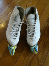 White Riedell Figure Ice Skates Model 21 Girls Size 11 Youth w/ Blade Covers