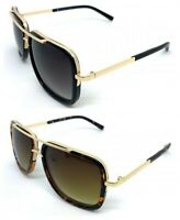 Aviator Oversize Square Designer Flat Top Gold Men Bar Fashion Shades Sunglasses