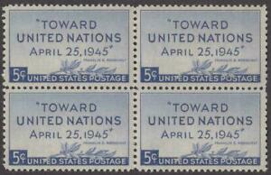 Scott # 928 - US Block Of 4 - United Nations - MNH - 1945
