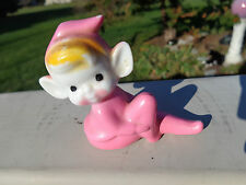 Vintage Ceramic Sitting Pink Elf / Pixie w Knee Bent