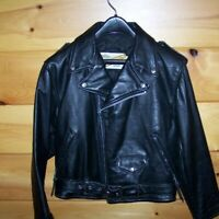 Schott vintage womens leather biker jacket small black