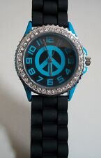 Fashion Peace Sign Jelly Silicone Rhinestone Girls,Women Colorful Casual Watch