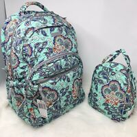 Vera Bradley Essential Backpack and Lunch Bunch Set Fan Flowers Lunchbox Cotton