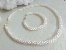 Dainty Vintage Faux Rice Pearls Choker Necklace Bracelet Set
