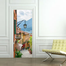 Old Town Door Mural Self-Adhesive Stickers with European Standard Size 88x200cm