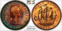 1970 GREAT BRITAIN 1/2 PENNY BU PCGS PR67RB TONED COIN POP 1 FINEST GRADED