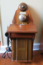 1920's ANTIQUE DANISH WALL TELEPHONE - GREAT MAHOGANY HOUSING - A GREAT PHONE