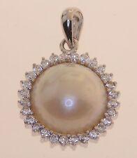 925 sterling silver Mabe pearl cz pendant slide 3.75g vintage estate womens