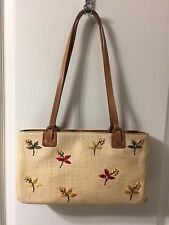 Vintage Fossil Handbag Purse Straw Brass Cute Wood Beading