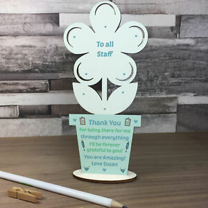 Gift For Hospital Staff Personalised Wood Flower Thank You Gift Nurses Doctors