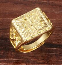 UK Mens 18k Gold Plated Chinese Writing Hip Hop Bling Resizable Signet Ring