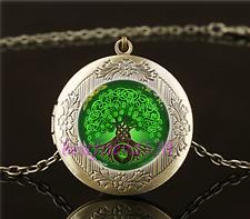 Vintage Celtic Tree Of Life Cabochon Glass Brass Locket Pendant Necklace