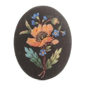 Large Czech vintage matte black floral painted oval porcelain cabochon 45x36mm