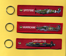 Spitfire+Hurricane+Lancaster Remove Before Flight tag - set of 3 key rings/fob
