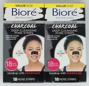 36 Biore Charcoal Deep Cleansing Pore Strips (2 -18 packs)- FS!