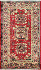 2.5X4 Hand-Knotted Kazak Carpet Tribal Red Fine Wool Accent Rug D45495