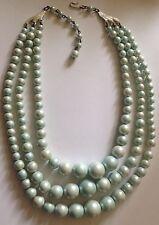 collier vintage perle en chute 3 rangs couleur bleu nacré attache crochet A12