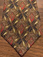 C19 Burberry London Men's Tie 100% Silk Olive Blue Floral Foulard Vintage