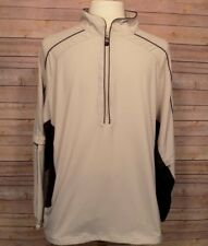 PGA Tour Men's Golf Jacket Windbreaker Large Beige Zip Off Sleeves L
