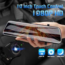 10'' INSMA Dual Lens FHD 1080P Dash Cam Car DVR Rearview Mirror Backup Camera