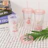 Flamingo Smoothie Plastic Drink Cup Coffee Juice Mug + Straw Liquid Beaker Lid
