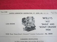 1954 WILLYS ACE, EAGLE & SCOUT CRUISER CARTER CARBURETOR SPEC & INFO SHEET