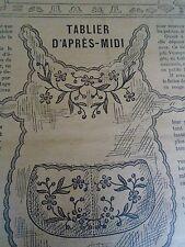 """PATRON ORIGINAL POUR LA POUPEE BLEUETTE """"TABLIER BRODE DECEMBRE  1912"""
