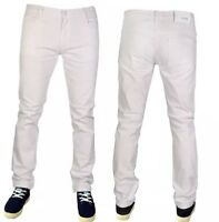 MENS WHITE SUPER STRETCH SKINNY SLIM FIT JEANS CHINOS ALL WAIST & LEG SIZES